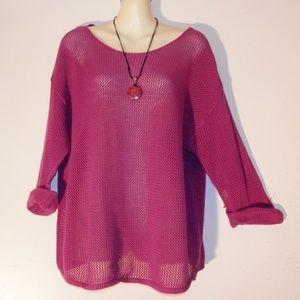 Lane Bryant 14 16 Purple Crochet Sweater Top E518